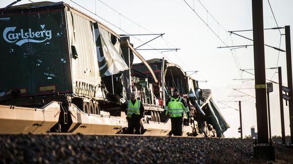 Мост Большой Бельт в Дании, где произошла железнодорожная авария. 2 января 2019