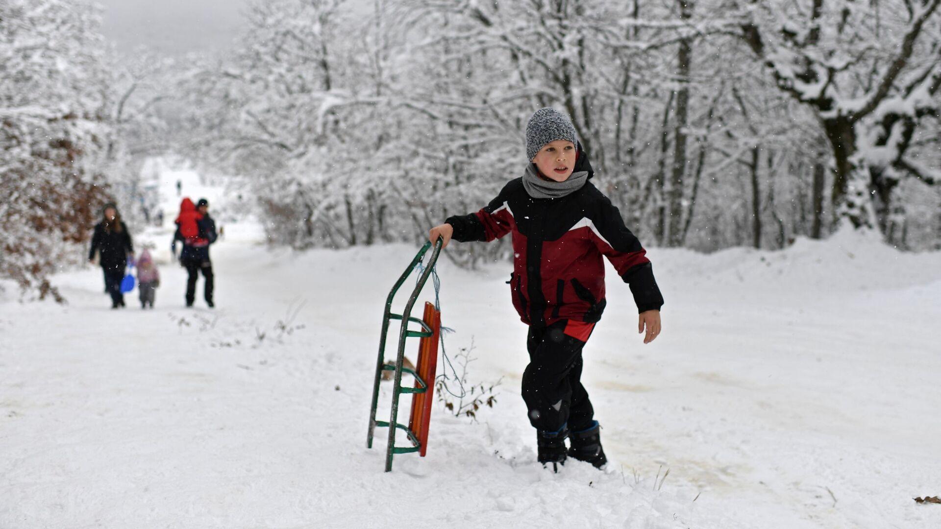 Мальчик с санками на Ангарском перевале в Крыму - РИА Новости, 1920, 17.01.2021
