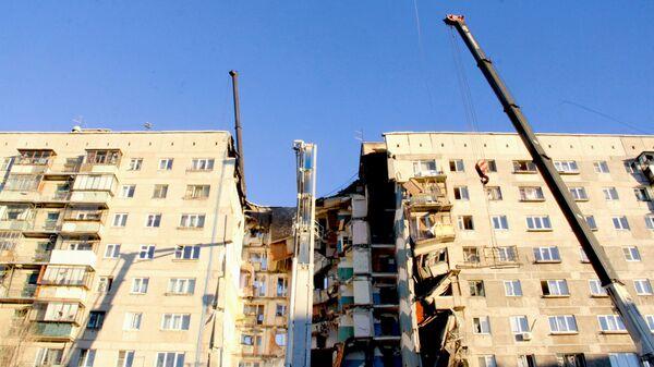 На месте обрушения одного из подъездов жилого дома в Магнитогорске