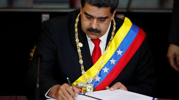 Президент Венесуэлы Николас Мадуро на церемонии принесения присяги в качестве президента Венесуэлы на период 2019-2025 годов. 10 января 2019