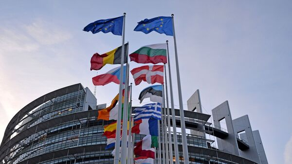 Флаги европейских государств перед зданием Европейского парламента в Страсбурге