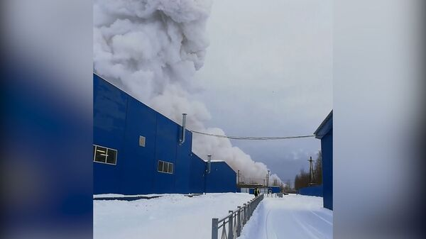 Кадры с места взрыва на заводе в Ленинградской области
