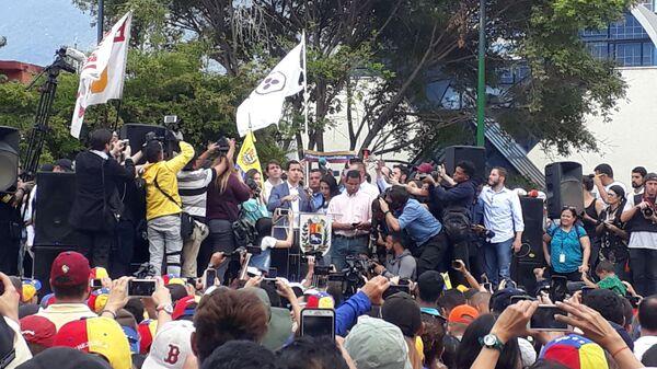 Хуан Гуаидо на митинге в Каракасе, Венесуэла. 26 января 2019