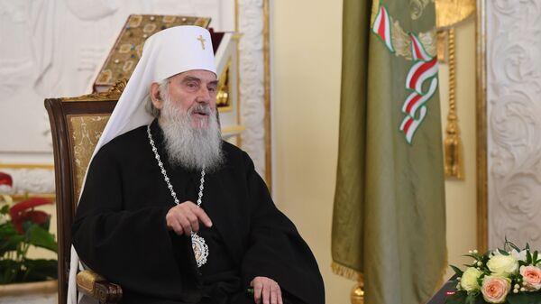 Патриарх Сербский Ириней во время встречи с патриархом Московским и всея Руси Кириллом в Москве