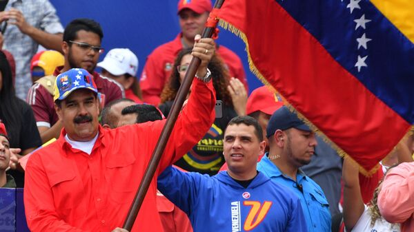 Президент Венесуэлы Николас Мадуро на митинге своих сторонников в Каракасе