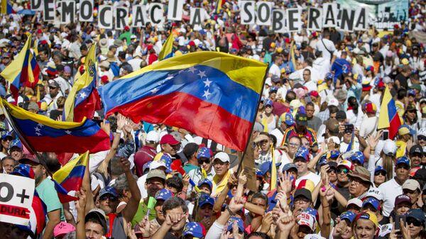 Митинг сторонников Хуана Гуаидо в Каракасе