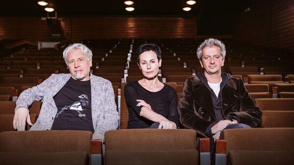 Владимир Сорокин, Ирина Апексимова и  Константин Богомолов Богомолов перед премьерой спектакля Теллурия