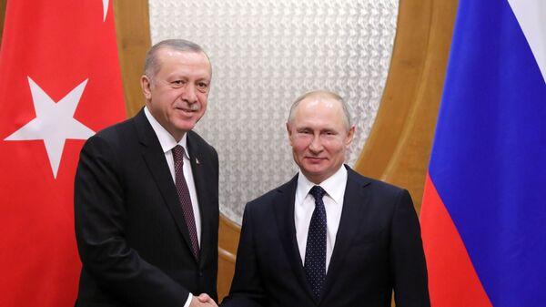 Президент РФ Владимир Путин и президент Турецкой Республики Реджеп Тайип Эрдоган