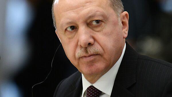 Президент Турецкой Республики Реджеп Тайип Эрдоган во время четвёртой трёхсторонней встречи президентов России, Ирана и Турции. 14 февраля 2019