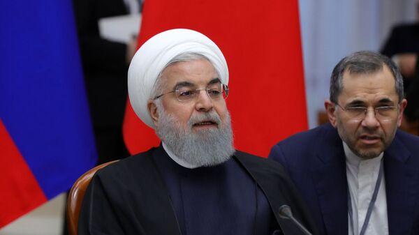 Президент Исламской Республики Иран Хасан Рухани во время трёхсторонней встречи президентов России, Ирана и Турции  в Сочи