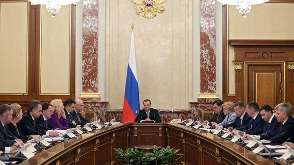 Председатель правительства РФ Дмитрий Медведев проводит совещание с членами кабинета министров РФ. 21 февраля 2019