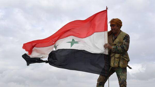 Военнослужащий сирийской армии на передовых позициях в районе города Манбидж