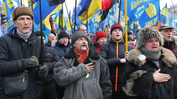 Участники акции с требованием честных выборов в Киеве. 24 февраля 2019