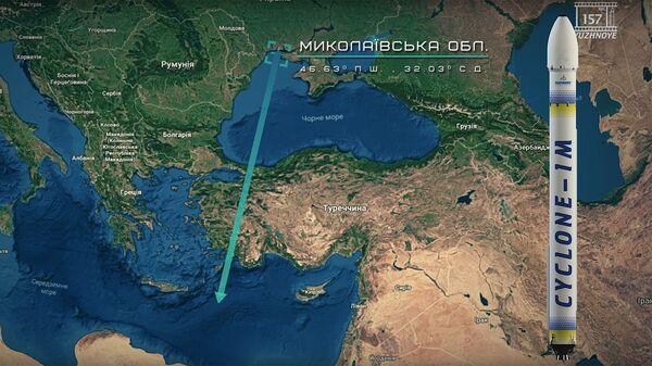 Стоп-кадр видеопрезентации украинского КБ Южное, на котором показана предполагаемая траектория полета ракеты Циклон-1М после запуска с космодрома на берегу Черного моря