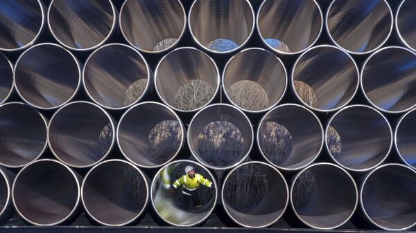 Трубы для строительства газопровода Nord Stream 2 в немецком Заснице