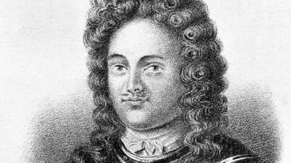 Литография портрета Франца Яковлевича Лефорта, российского государственного и военного деятеля, адмирала, сподвижника Петра Первого.