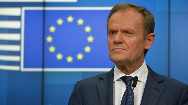 Председатель Европейского совета Дональд Туск на саммите глав государств и правительств Евросоюза в Брюсселе