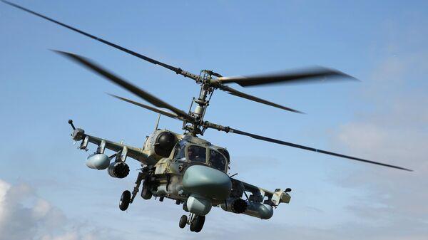 Ударный вертолет Ка-52 Аллигатор во время окружного этапа конкурса Авиадартс-2019 в Краснодарском крае