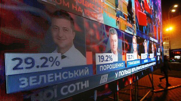 Табло у здания ЦИК Украины с предварительными данными по голосованию жителей на выборах президента