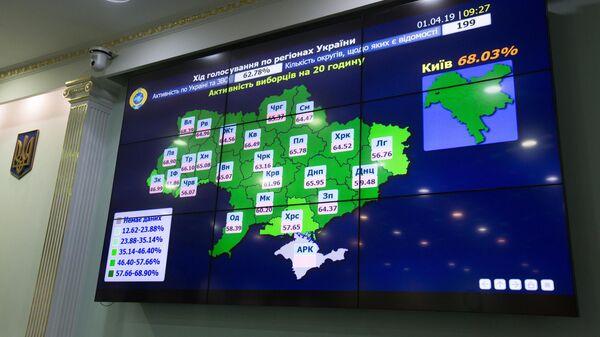 Монитор в ЦИКе во время пресс-конференции о результатах подсчета голосов президентских выборов на Украине. 1 апреля 2019