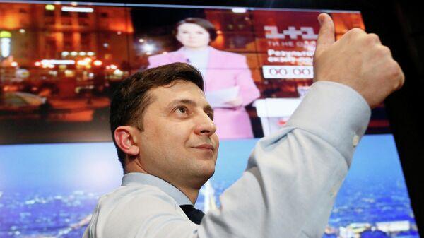 Владимир Зеленский в своем избирательном штабе в Киеве. 31 марта 2019