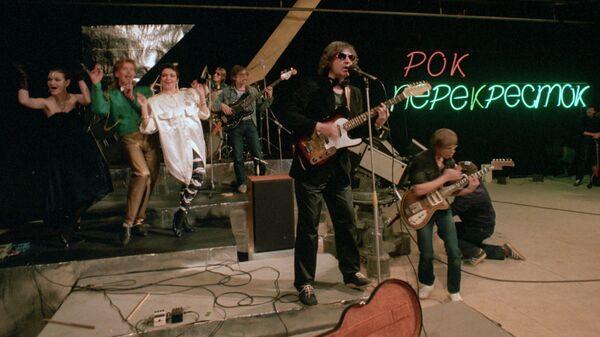Выступление рок-группы Зоопарк во время съемок передачи Рок-перекресток