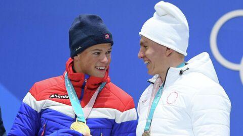 Йоханнес Хёсфлот Клебо и Александр Большунов (справа)