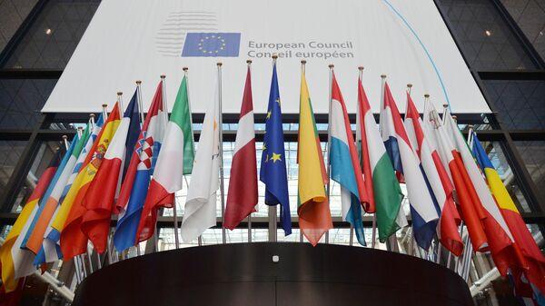Флаги государств членов ЕС в здании Европейского Совета в Брюсселе