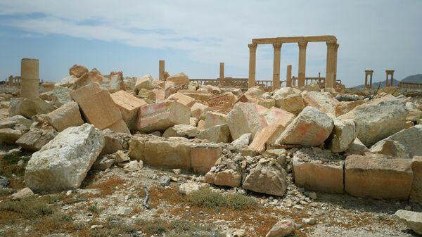 Разрушенный храм Баалшамина в исторической части Пальмиры. 2016 год