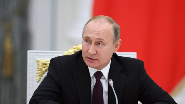 Президент РФ Владимир Путин во время встречи с представителями деловых кругов Франции. 18 апреля 2019