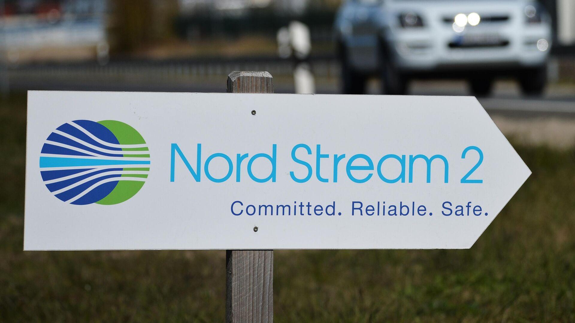 Указатель с символикой компании Nord Stream 2 AG, ведущей строительство газопровода Северный поток-2 в Германии - РИА Новости, 1920, 17.10.2020