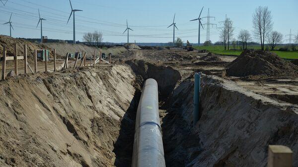 Участок строительства газопровода Северный поток-2 в окрестностях города Любмин