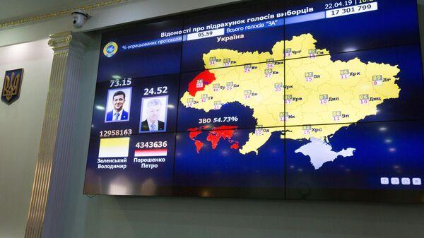 Монитор в центральной избирательной комиссии Украины с информацией о предварительных результатах подсчета голосов второго тура президентских выборов на Украине. 22 апреля 2019