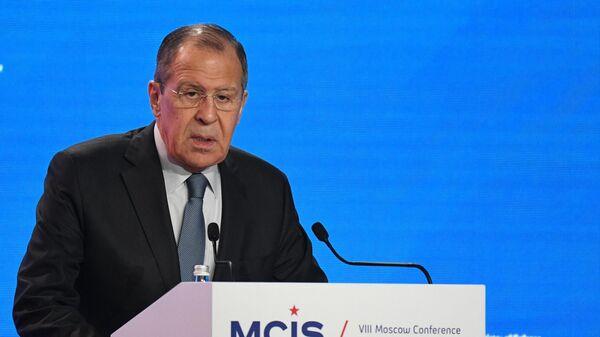 Министр иностранных дел РФ Сергей Лавров выступает на церемонии открытия VIII Московской конференции по международной безопасности