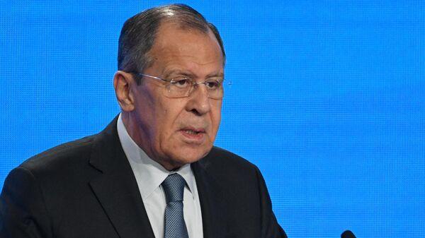Министр иностранных дел РФ Сергей Лавров выступает на церемонии открытия VIII Московской конференции по международной безопасности. 24 апреля 2019 РИА Новости
