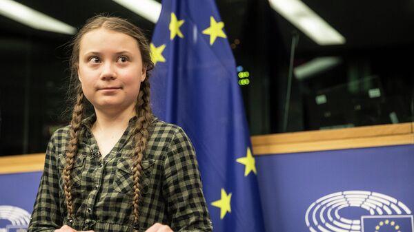 Шведская активистка Грета Тунберг выступает в Европейском парламенте в Страсбурге