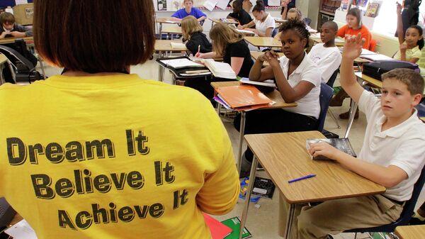 Школьники на уроке истории в городе Спрингфилд в США