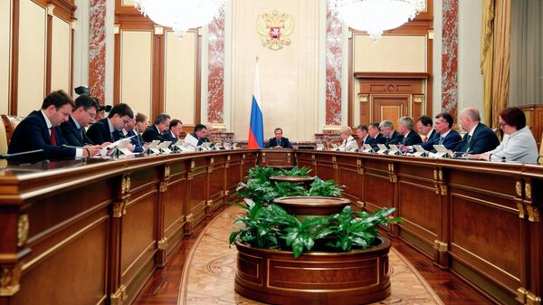 Председатель правительства РФ Дмитрий Медведев проводит заседание правительства РФ. 16 мая 2019