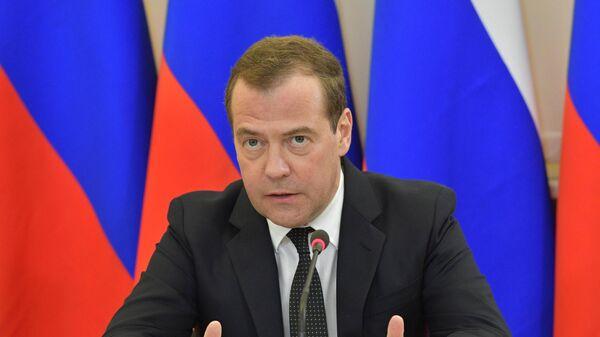 Председатель правительства РФ Дмитрий Медведев проводит совещание о ходе реализации федерального проекта Старшее поколение национального проекта Демография. 17 мая 2019