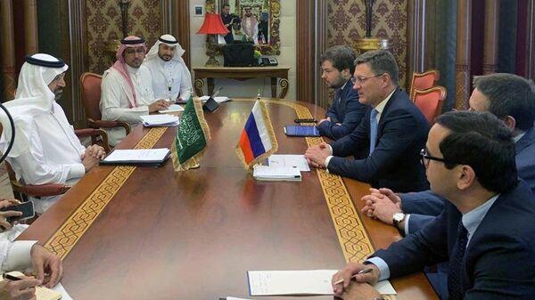 Министр энергетики Российской Федерации Александр Новак во время встречи с министром энергетики, промышленности и минеральных ресурсов Саудовской Аравии Халидом Аль-Фалихом