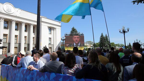 Трансляция церемонии инаугурации избранного президента Украины Владимира Зеленского в Киеве