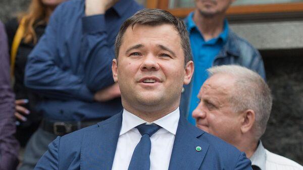 Советник президента Украины Андрей Богдан во время брифинга по результатам встречи с президентом Украины Владимиром Зеленским