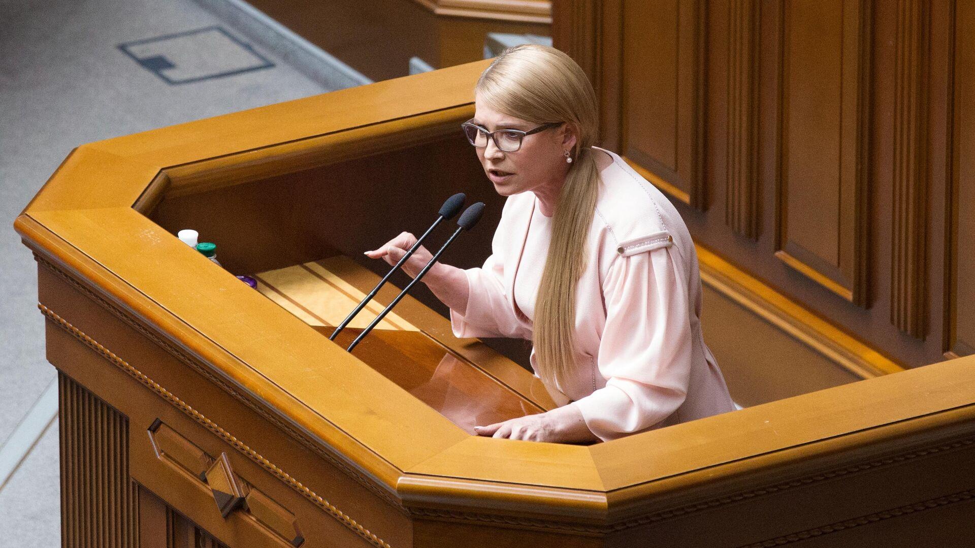 Лидер партии Батькивщина Юлия Тимошенко выступает на заседании Верховной рады Украины. 22 мая 2019 - РИА Новости, 1920, 04.10.2021