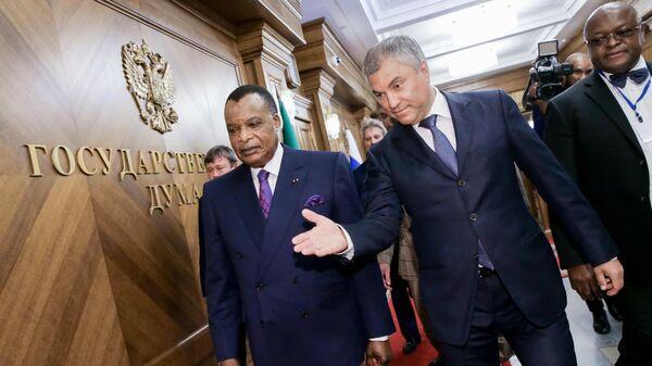 Президент Конго Дени Сассу-Нгессо и председатель Государственной Думы РФ Вячеслав Володин. 22 мая 2019