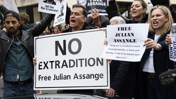 Участники акции в поддержку основателя WikiLeaks Джулиана Ассанжа у здания Вестминстерского мирового суда в Лондоне