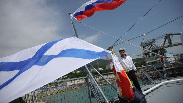 Церемония поднятия флага на патрульном корабле проекта 22160 Дмитрий Рогачев на Новороссийской военно-морской базе. 11 июня 2019