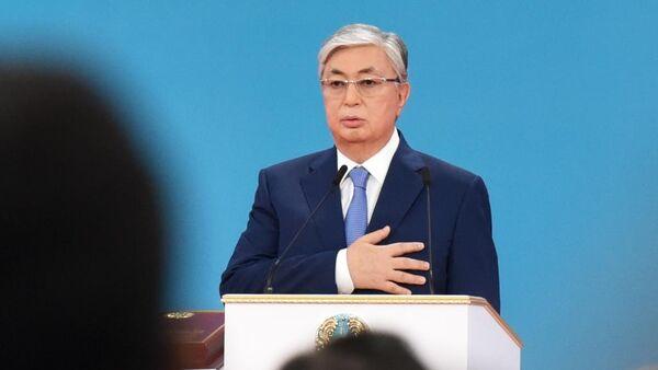 Избранный президент Казахстана Касым-Жомарт Токаев на церемонии принесения присяги народу Казахстана во время вступления в должность президента. 12 июня 2019