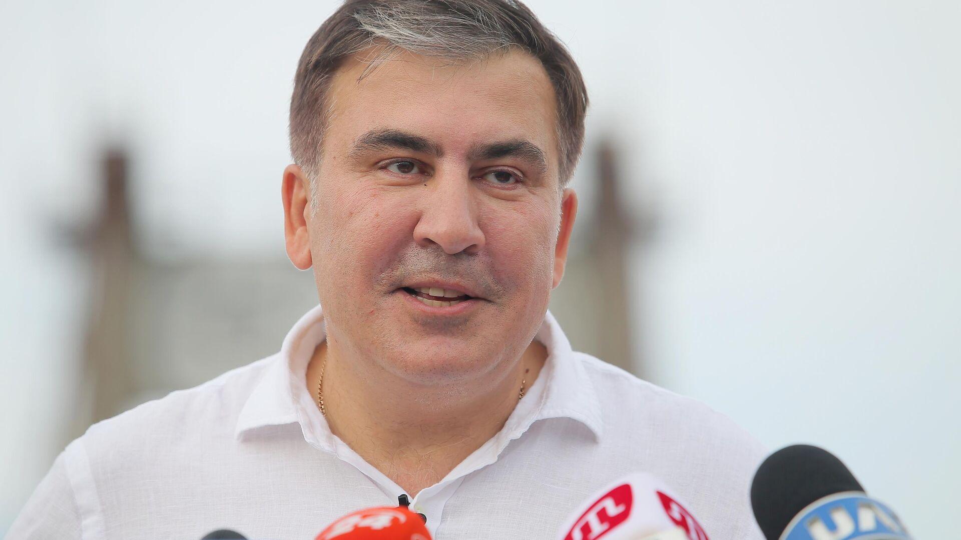 Лидер политической партии Движение новых сил Михаил Саакашвили на пресс-конференции в Киеве. 13 июня 2019 - РИА Новости, 1920, 14.10.2021