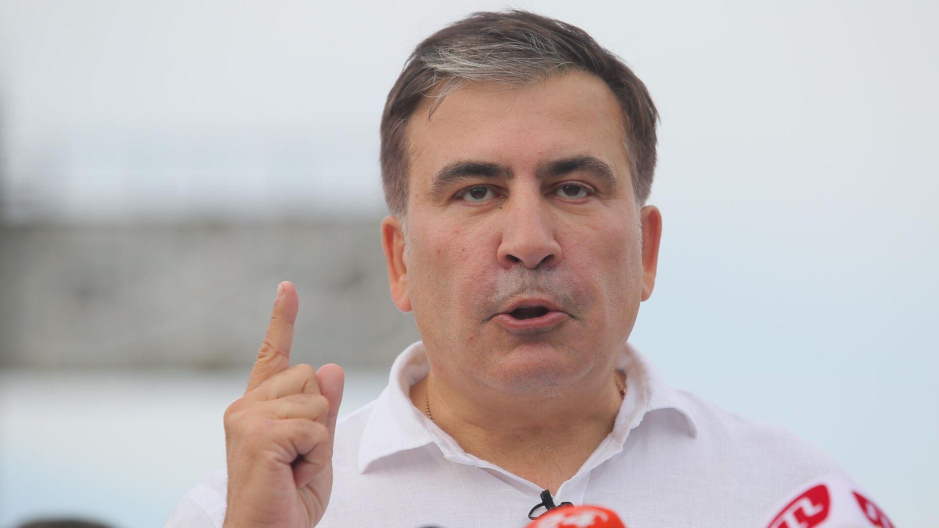 Лидер политической партии Движение новых сил Михаил Саакашвили на пресс-конференции в Киеве. 13 июня 2019 - РИА Новости, 1920, 31.10.2020