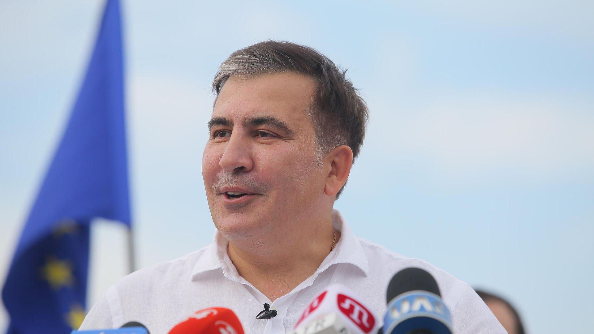Лидер политической партии Движение новых сил Михаил Саакашвили на пресс-конференции в Киеве. 13 июня 2019 - РИА Новости, 1920, 09.10.2021
